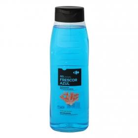 Gel de ducha refrescante Frescor Azul Carrefour 750 ml.