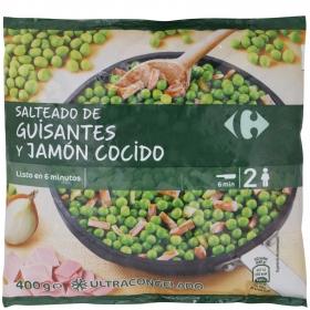 Salteado de guisantes con jamón cocido Carrefour 400 g.