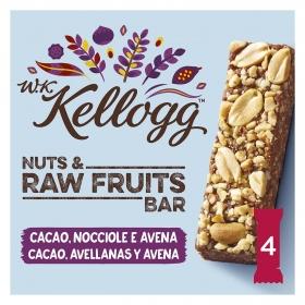 Barritas de cereales con cacao, avellanas y avena W.K Kellogg 4 unidades de 30 g.