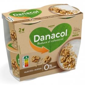 Yogur de nueces y avena Danone Danacol pack de 4 unidades de 120 g.