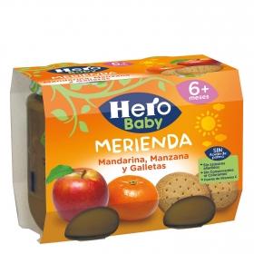Tarrito de mandarina, manzana y galletas desde 6 meses Hero Baby merienda pack de 2 unidades de 200 g.