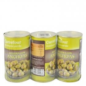 Aceitunas verdes rellenas de anchoa Carrefour pack de 3 latas de 150 g.