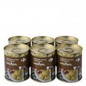 Aceitunas verdes rellenas de anchoa Carrefour pack de 6 latas de 50 g.