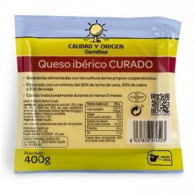 Queso mezcla curado ibérico Calidad y Origen Carrefour cuña 400 g