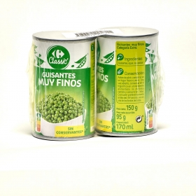 Guisantes muy finos al natural Carrefour Pack de 2 unidades de 95 g.