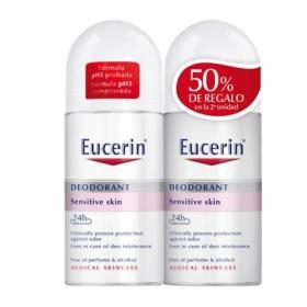 Desodorante roll on pH5 para pieles sensibles Eucerin pack de 2 unidades de 50 ml.