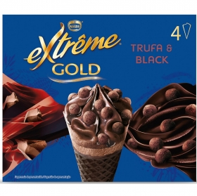 Conos con helado de trufa y chocolate Extrême Gold  Nestlé 4 ud.