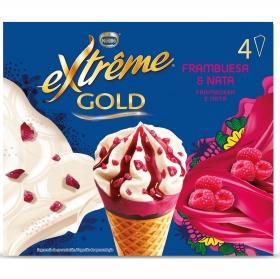 Conos con helado de frambuesa y nata Extrême Gold Nestlé 4 ud.