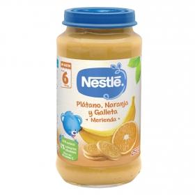 Tarrito de plátano, naranja y galleta desde 6 meses sin azúcar añadido Nestlé sin gluten 250 g.