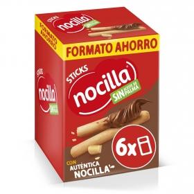 Palitos de pan con crema de cacao con avellanas Sticks Nocilla pack de 6 unidades de 30 g.