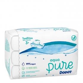 Toallitas para bebé con tapa aqua pure Dodot pack de 3 paquetes de 48 ud.