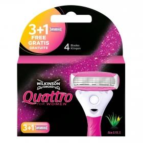 Cargador maquinilla depilatoria para mujer Quattro Wilkinson 4 ud.