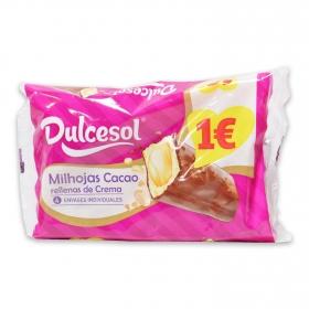 Milhojas de cacao DulceSol 4 ud.