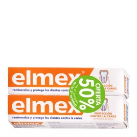 Dentífrico protección contra la caries Elmex pack de 2 unidades de 75 ml.