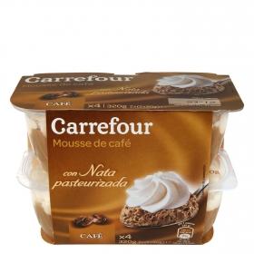 Copa mousse de café con nata pasteurizada Carrefour pack de 4 unidades de 80 g.