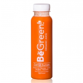 Smoothie de naranja, zanahoria, manzana ecológico Be Green botella 30 cl.