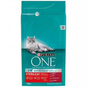 Purina ONE Pienso para Gato Adulto Esterilizado Buey y Trigo 1,5Kg