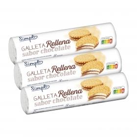 Galletas rellenas de crema chocolate pack de 3 unidades de 250 g.