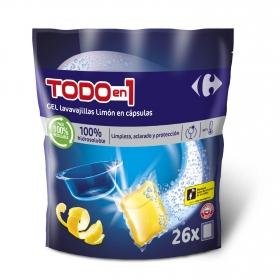 Lavavajillas Todo en 1 aroma limón en cápsulas Carrefour 26 ud.