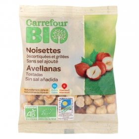 Avellanas tostadas sin sal añadida ecológicas Carrefour Bio 90 g.