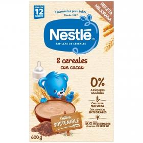 Papilla infantil desde 12 meses 8 Cereales con Cacao Nestlé 600 g.