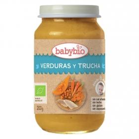 Tarrito de verduras y trucha desde 8 meses sin sal añadida ecológico Babybio sin gluten 200 g.