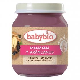 Tarrito de manzana y arándanos desde 4 meses sin azúcar añadido ecológico Babybio sin gluten 130 g.