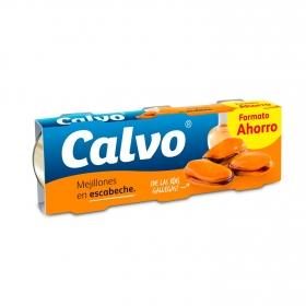 Mejillones de las rías gallegas en escabeche Calvo pack de 3 unidades de 69 g.