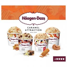 Mini helados de salted caramel, dulce de leche, pralines y caramel biscuit Häagen Dazs pack de 4 unidades de 95 ml.