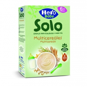 Papilla infantil desde 6 meses multicereal ecológica Hero Baby Solo 300 g.