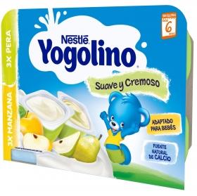 Yogur de manzana y pera desde 6 meses Nestlé Yogolino sin gluten pack de 6 unidades de 60 g.