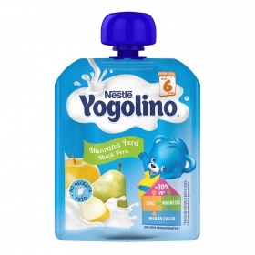 Yogur de manzana y pera desde 6 meses Nestlé Yogolino sin gluten bolsita de 90 g.