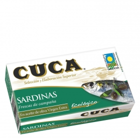 Sardinas en aceite de oliva virgen extra ecológico Cuca 85 g.