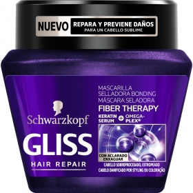 Mascarilla capilar Fiber Therapy Bonding para cabello estropeado Gliss 300 ml.