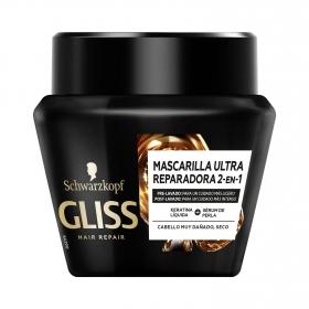 Mascarilla capilar Reparadora Ultimate Repair para cabello muy dañado Gliss 300 ml.
