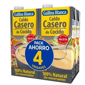 Caldo de cocido Gallina Blanca pack de 4 briks de 1 l.