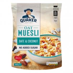 Cereales sin azúcar oat muesli con dátiles y coco Quaker 600 g.