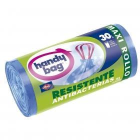25 Bolsas de basura Maxi Rollo Antibacterias Handy Bag 30 Litros-Azul