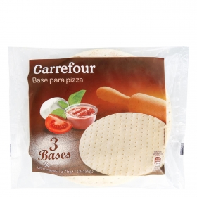 Base de pizza Carrefour pack de 3 unidades de 125 g.