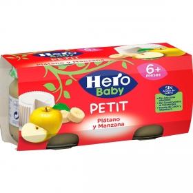 Tarrito de queso fresco con plátano y manzana desde 6 meses Hero Baby Petit pack de 2 unidades de 80 g.