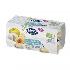 Tarrito de queso fresco con frutas variadas desde 6 meses Hero Baby Petit pack de 2 unidades de 80 g.