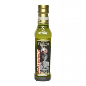 Condimento preparado a base de aceite oliva virgen extra al ajo La Española 250 ml.