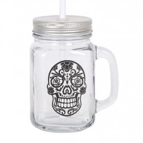Mug con Tapa y Pajita HOME STYE Skull 450 cc - Transparente