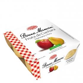 Fruta de cuchara manzana y pera Bonne Maman pack de 4 unidades de 100 g.