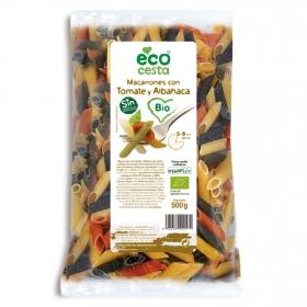 Macarrones de tomate y albahaca ecológicos Ecocesta 500 g.