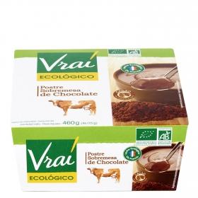 Postre sobremesa de chocolate ecológico Vrai pack de 4 unidades de 115 g.