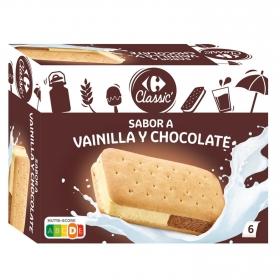 Sandwich de vainilla y chocolate Carrefour 6 ud.