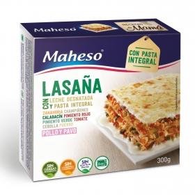 Lasaña con pasta integral Maheso 300 g.