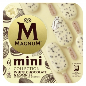 Mini bombón helado de vainilla y cookies Magnum pack de 6 unidades de 45 g.
