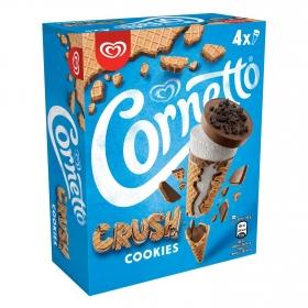 Conos con helado crush cookies Cornetto pack de 4 unidades de 60 g.